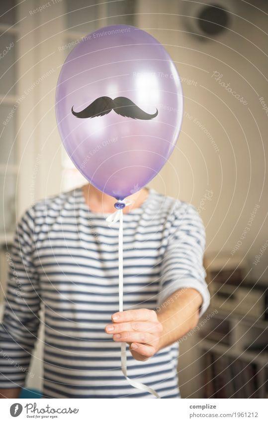 Monsieur Moustache Feste & Feiern Geburtstag Mensch maskulin Mann Erwachsene Bart 1 Oberlippenbart Behaarung Schnurrhaar Party fest Luftballon Farbfoto