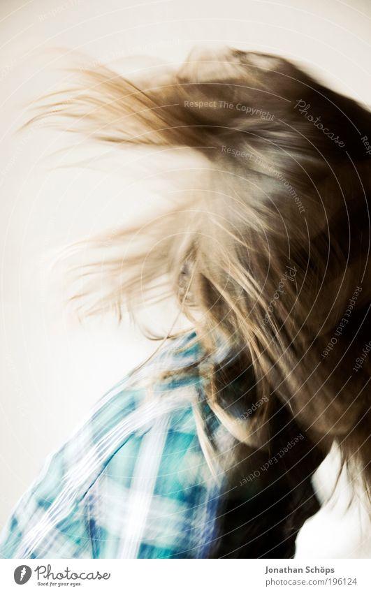 karierte Waschmaschine Mensch Jugendliche blau Freude Erwachsene feminin Leben Kopf Haare & Frisuren Stil Musik braun Tanzen Lifestyle Coolness