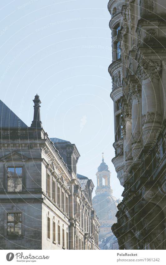 #A# Dresden im Blick I Kunstwerk ästhetisch Frauenkirche Gasse Sehenswürdigkeit Kuppeldach Kirche Kirchentag Turm Barock Gebäude Gebäudeteil Architektur