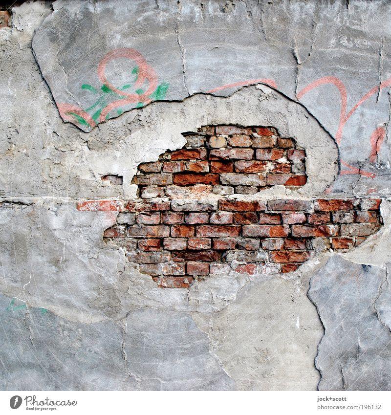 Groß rauskommen Straßenkunst Backstein Graffiti alt kaputt grau unbeständig Inspiration Schwäche Verfall Vergänglichkeit Wandel & Veränderung Zerstörung Putz