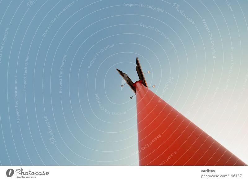 Nix Neues Himmel blau rot oben Linie Zufriedenheit Kraft Metall elegant Schilder & Markierungen ästhetisch stehen dünn Spitze Unendlichkeit