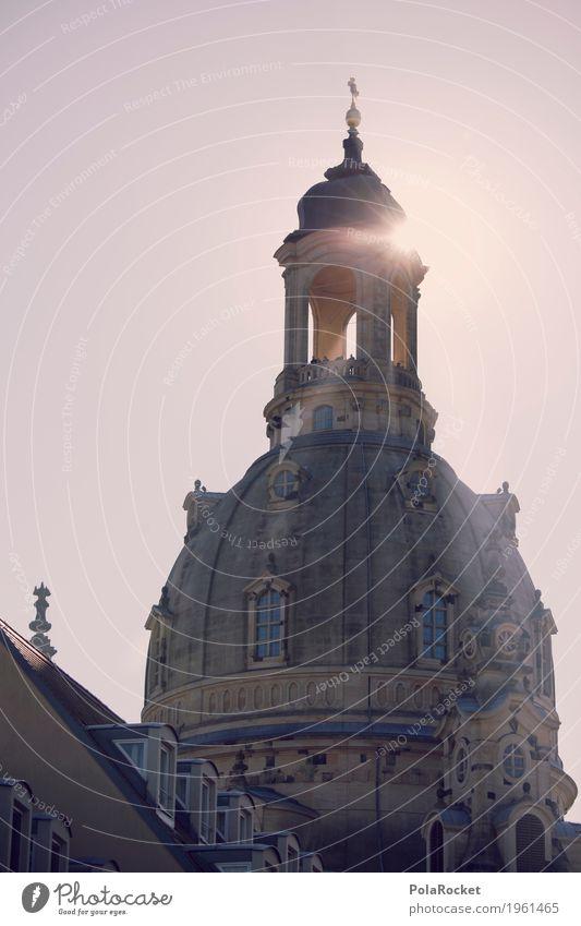 #A# Dresden im Blick IV Kunst ästhetisch Frauenkirche Sachsen Kirche Kuppeldach Sonnenstrahlen Sommer Städtereise Tourismus Sehenswürdigkeit Dach Hauptstadt