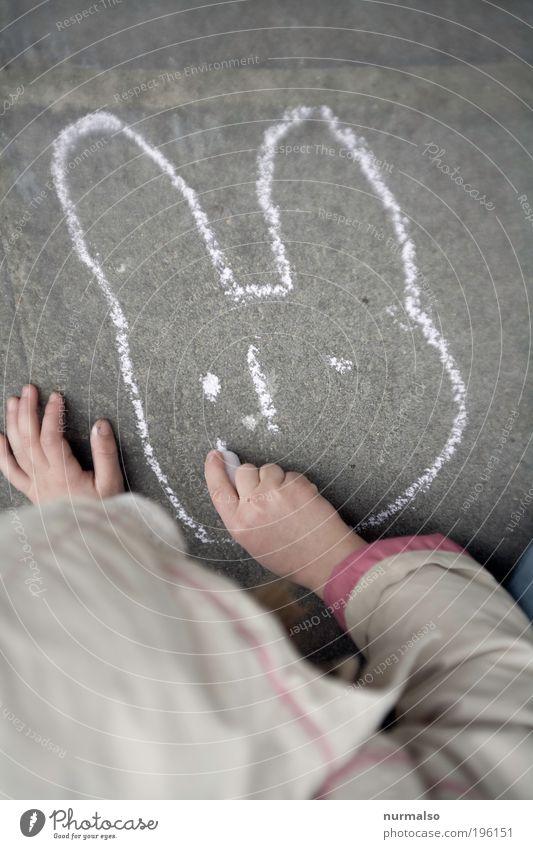 ohne Mund . . . Mensch Kind Hand Freude Spielen Garten Stein Kunst klein Umwelt Ostern Freizeit & Hobby Lebensfreude Zeichen Kindheit Jacke