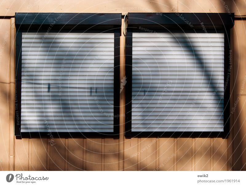 Nebensaison Freizeit & Hobby Haus Fassade Fenster hängen eckig einfach trist geschlossen Wäscheleine Baumschatten Jalousie Wäscheklammern hängend Gartenhaus