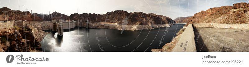 hoover dam(n) Himmel Wasser schön Sonne Ferien & Urlaub & Reisen Berge u. Gebirge Horizont Tourismus Energiewirtschaft Elektrizität USA Sightseeing Dürre Stromkraftwerke See gigantisch