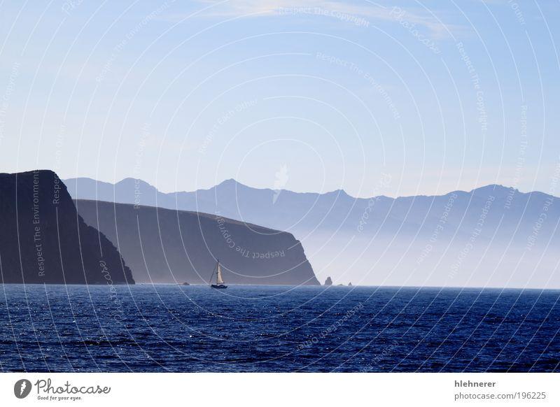 Santa Cruz Insel Ferien & Urlaub & Reisen Sommer Strand Meer Berge u. Gebirge Natur Landschaft Horizont Wellen Küste blau Farbe Idylle Kalifornien Kanal