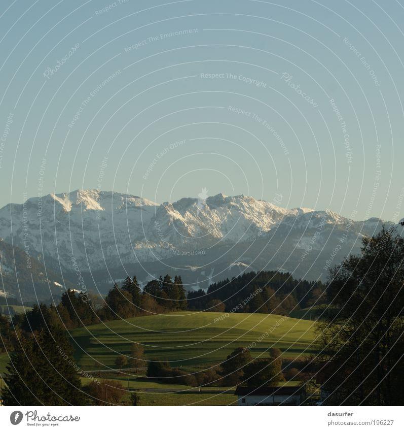 Bergblick Freiheit Sommer Winter Schnee Berge u. Gebirge Natur Landschaft Himmel Wolkenloser Himmel Sonnenlicht Herbst Wetter Schönes Wetter Baum Gras Hügel