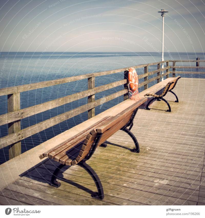 sichere bank Wasser Ferien & Urlaub & Reisen Sonne Sommer Meer Ferne Erholung Freiheit Küste Horizont Ausflug Tourismus Insel Sicherheit Bank Schönes Wetter