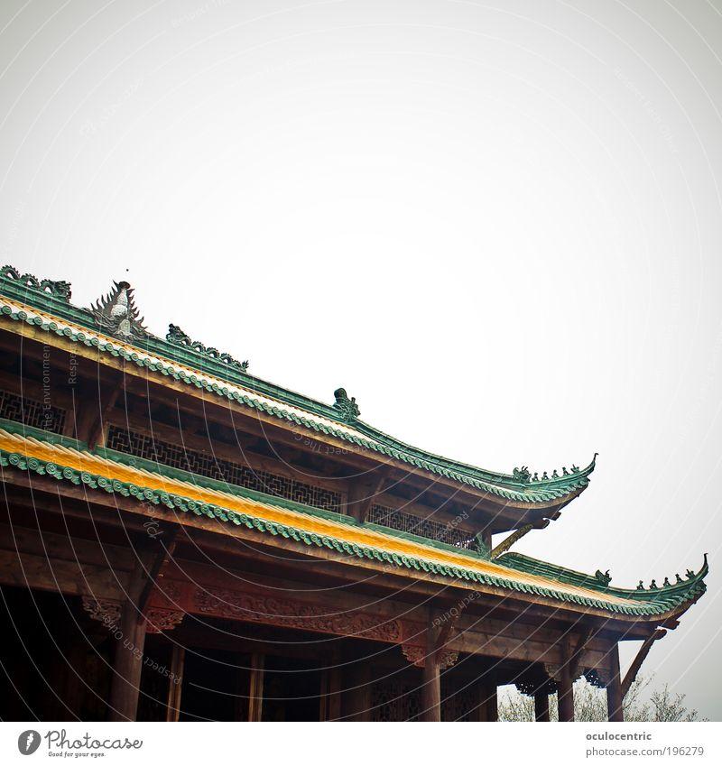 Buddhas Hood China Asien Tempel Dach Buddhismus historisch braun gelb grün Heimweh Fernweh ästhetisch Kultur Tourismus Tradition Ferien & Urlaub & Reisen