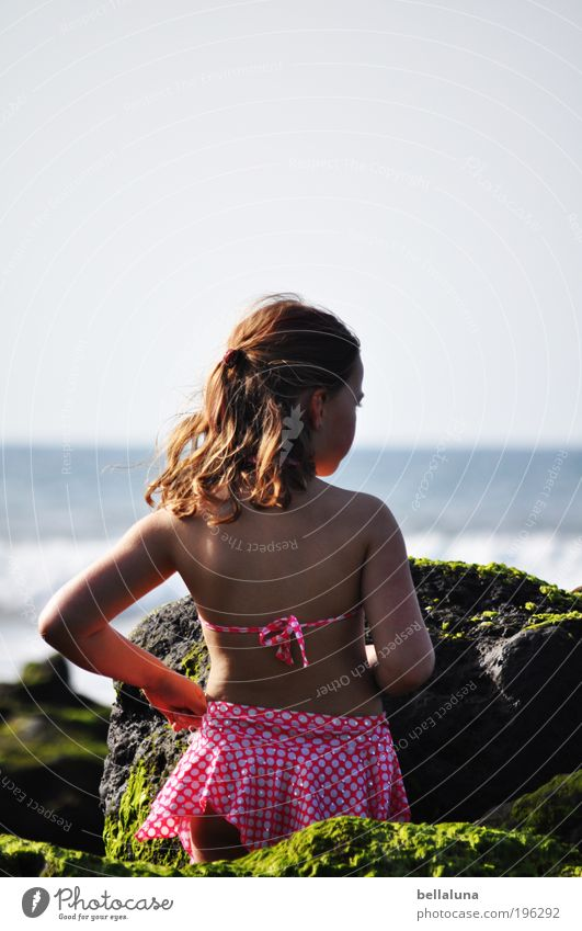 Ich liebe das Meer! Mensch Kind Mädchen Kindheit Leben Haut Kopf Haare & Frisuren Rücken Arme 3-8 Jahre Umwelt Natur Klima Wetter Schönes Wetter Wind Felsen