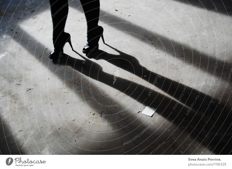 walk the line Lifestyle elegant Stil feminin Junge Frau Jugendliche Beine 1 Mensch Fassade Accessoire Schuhe Damenschuhe Beton genießen stehen außergewöhnlich