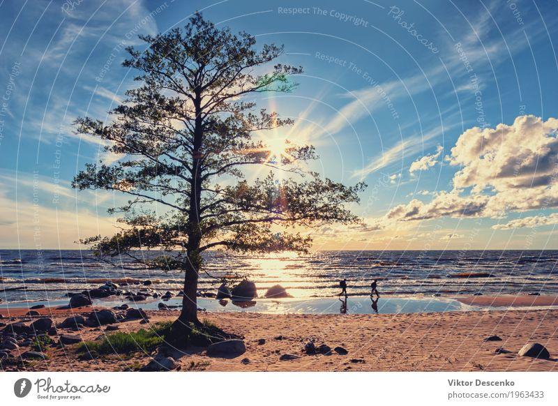 Touristen gehen am Strand entlang Lifestyle Glück schön Ferien & Urlaub & Reisen Tourismus Sommer Sonne Meer Insel Mensch Mann Erwachsene Natur Landschaft Sand