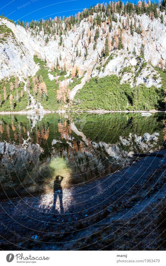 Der Spiegelungsfotograf Ferien & Urlaub & Reisen Ausflug Berge u. Gebirge Mensch 1 Natur Wasser Herbst Schönes Wetter Baum Felsen Alpen See Ahornsee Gebirgssee