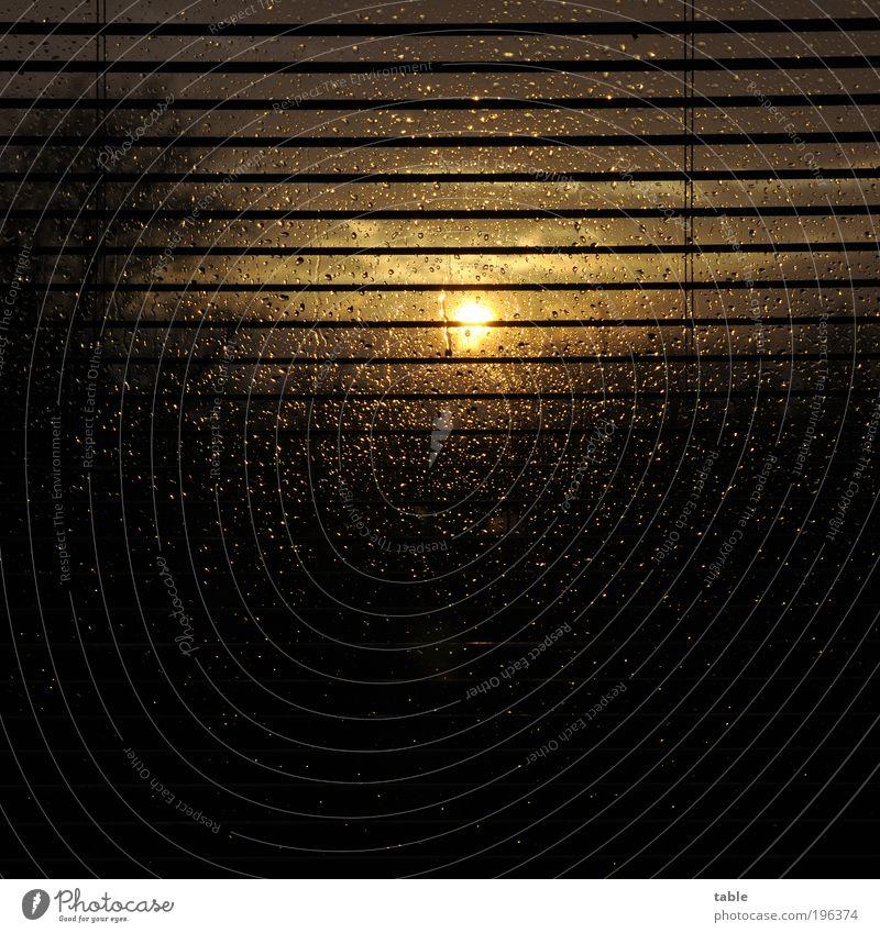 Der Untergang Wohnung Natur Wassertropfen Himmel Horizont Sonnenlicht Schönes Wetter schlechtes Wetter Regen Fenster Jalousie Glas Metall glänzend dunkel gelb