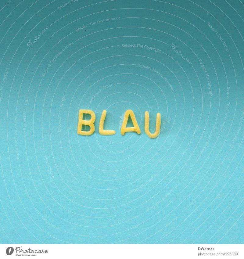 Blau Himmel blau Farbstoff Stil Lebensmittel Ernährung Schriftzeichen Lifestyle Buchstaben Zeichen schreiben Appetit & Hunger Alkohol Wort Nudeln Mittagessen