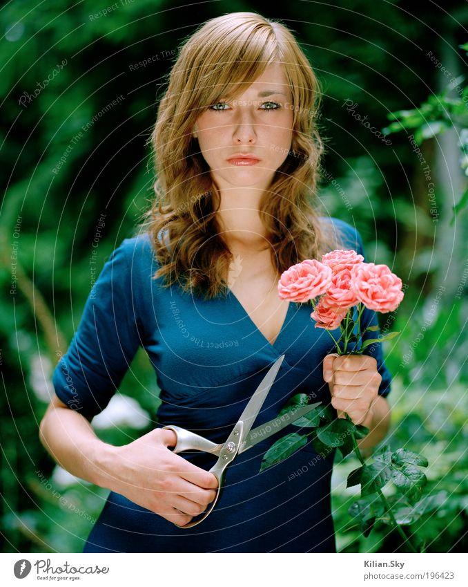 Rosenmörderin Jugendliche blau schön Blume Gesicht Erwachsene feminin Haare & Frisuren Mode Kraft elegant bedrohlich Rose Vergänglichkeit 18-30 Jahre Kleid