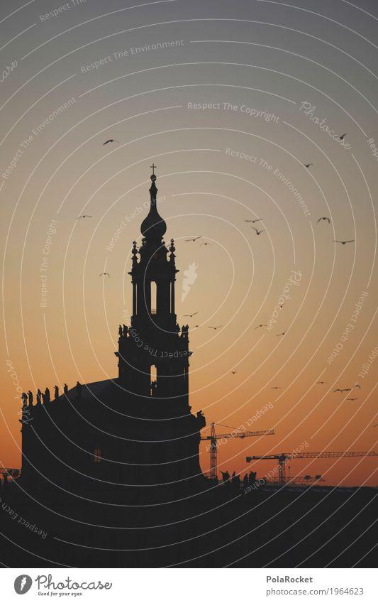 #A# Dämmerung Gemälde ästhetisch Dresden Hofkirche Hofkirche Dresden Sachsen Deutschland Sehenswürdigkeit Canaletto Altstadt Abenddämmerung Sonnenuntergang