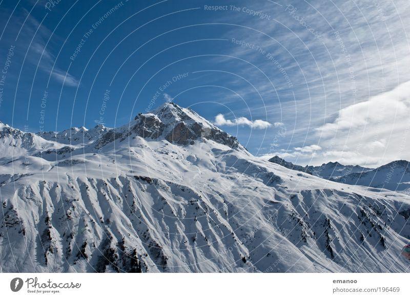 bergwelt Himmel Natur Ferien & Urlaub & Reisen blau Landschaft Winter Berge u. Gebirge kalt Schnee Freiheit Eis Freizeit & Hobby hoch Ausflug Gipfel Frost