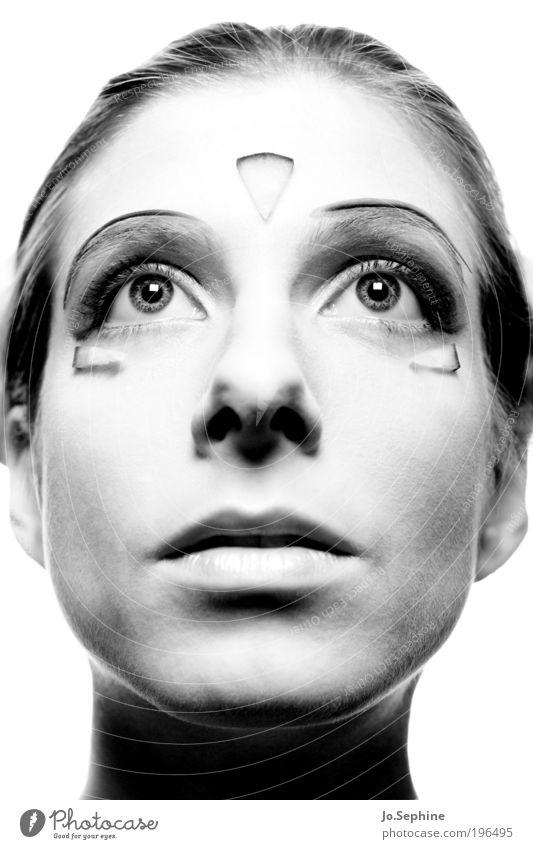 MenschMaschine Frau Jugendliche schön Erwachsene feminin Kopf 18-30 Jahre außergewöhnlich ästhetisch bizarr Symmetrie perfekt Anmut außerirdisch künstlich Blick nach oben