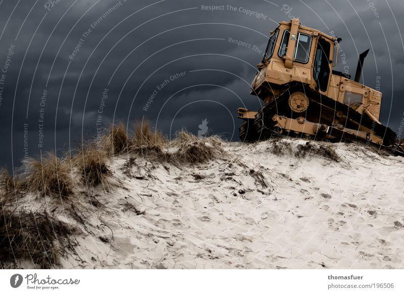 Dünenjet Safari Expedition Strand Arbeit & Erwerbstätigkeit Beruf Baggerfahrer Baustelle Tiefbau Baumaschine Sand Himmel Gewitterwolken schlechtes Wetter