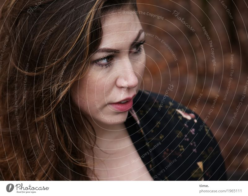 Anne feminin Frau Erwachsene 1 Mensch Wald Jacke brünett langhaarig beobachten sprechen Blick schön selbstbewußt Willensstärke Wachsamkeit Ausdauer Neugier