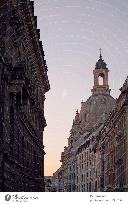 #A# Vorfreude Kunst ästhetisch Frauenkirche Dresden Kuppeldach Barock Turm Blauer Himmel Sommerabend Romantik Altstadt Sehenswürdigkeit Farbfoto Gedeckte Farben