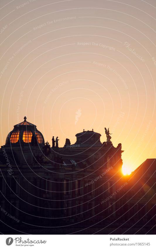 #A# Brühlscher Blick Kunst Idylle ästhetisch Sehenswürdigkeit Hauptstadt Altstadt Engel Dresden Sachsen Kunstwerk Kuppeldach Sommerabend Brühlsche Terrasse