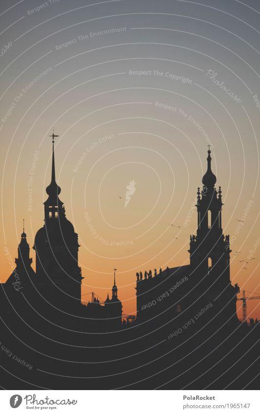 #A# Dresdner Dämmerung Kunst Kunstwerk ästhetisch Dresden Elbufer Hofkirche Dresden Burg oder Schloss Altstadt historisch Historische Bauten Turm Hauptstadt