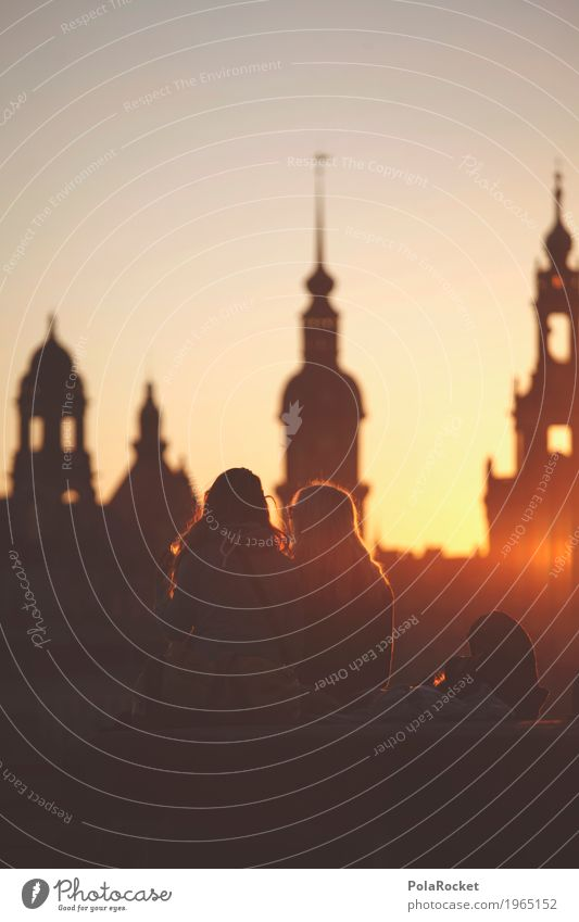 #A# Dresdner Freundschaft Jugendliche Junge Frau Kunst Freizeit & Hobby Idylle ästhetisch Kultur Romantik Jugendkultur Skyline Gemälde Altstadt Dresden Sachsen