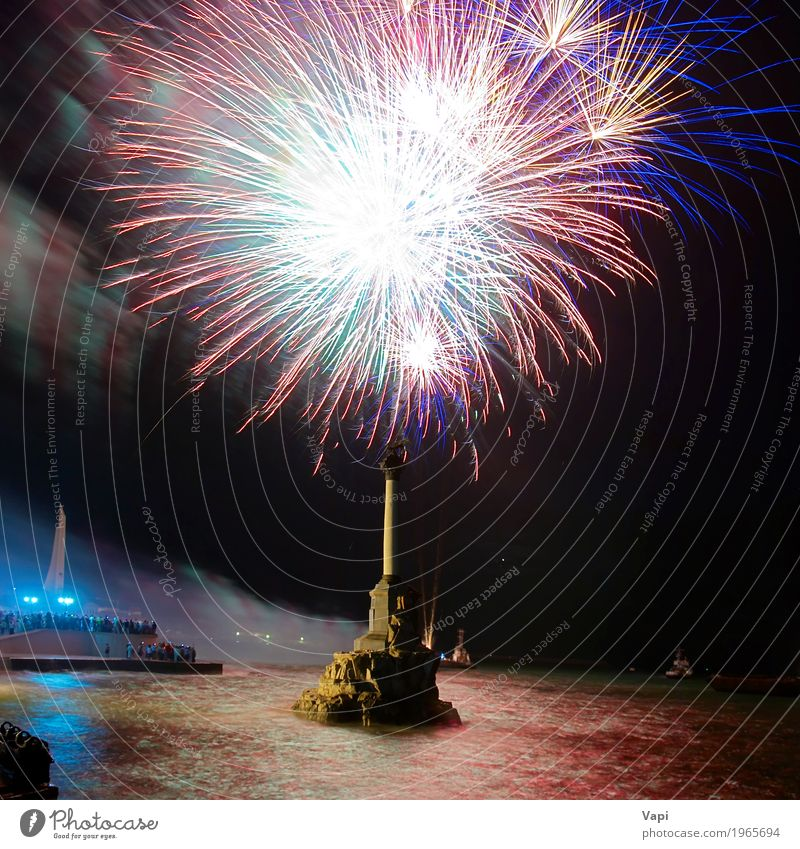 Feiertagsfeuerwerk Himmel blau Weihnachten & Advent Farbe grün Wasser weiß rot Freude schwarz gelb Party Feste & Feiern See orange rosa