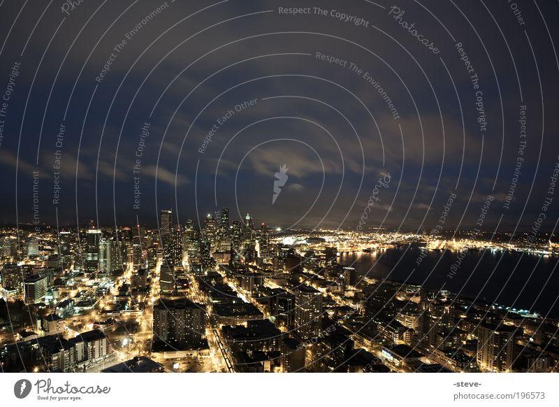 seattle@night Haus Beleuchtung Hochhaus USA Skyline Bucht Nachtaufnahme Amerika Seattle