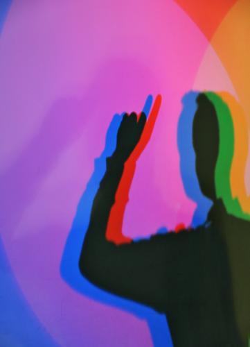 Des Maîtres Meldepflicht maskulin Mann Erwachsene Finger 1 Mensch blau mehrfarbig gelb grün violett orange rosa rot schwarz Zeigefinger zeigen aufwärts