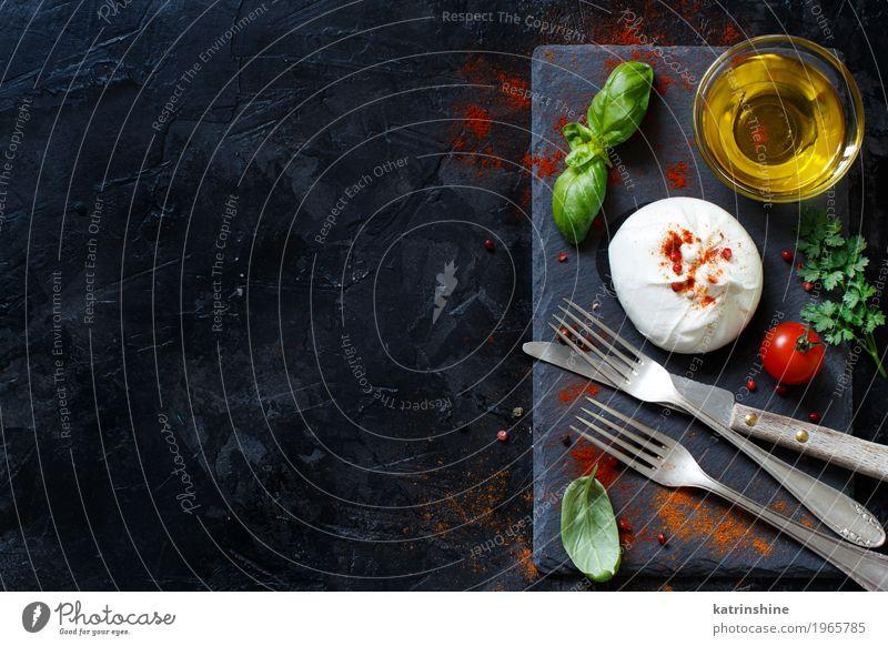 grün weiß rot dunkel Holz Textfreiraum Ernährung frisch weich Kräuter & Gewürze lecker Gemüse Schalen & Schüsseln Messer Mahlzeit Vegetarische Ernährung