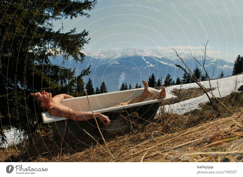 sonnenbad Mann Natur Sonne Ferien & Urlaub & Reisen Winter Erwachsene Ferne Leben Schnee Umwelt Landschaft Freiheit Berge u. Gebirge Haut Ausflug wandern