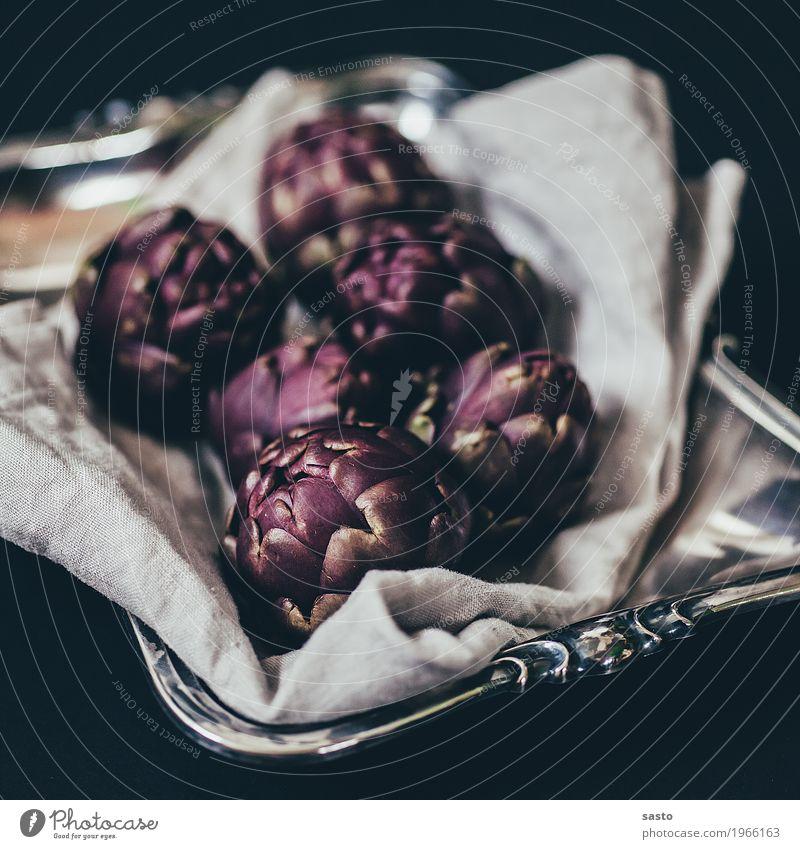 Babyartischocken Lebensmittel Gemüse Ernährung Bioprodukte Vegetarische Ernährung Slowfood ästhetisch violett schwarz silber Artischocke roh Gesunde Ernährung