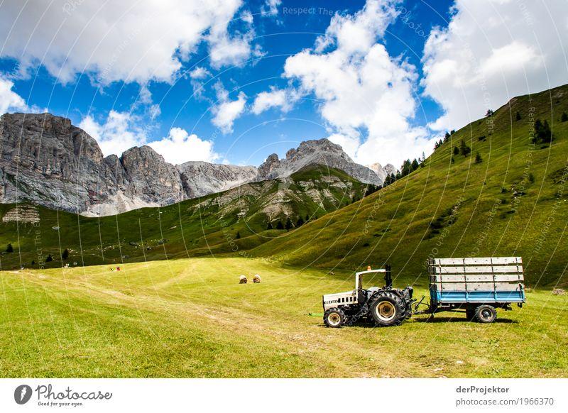 Traktor mit Panorama in den Dolomiten Zentralperspektive Starke Tiefenschärfe Sonnenstrahlen Sonnenlicht Lichterscheinung Silhouette Kontrast Schatten Tag