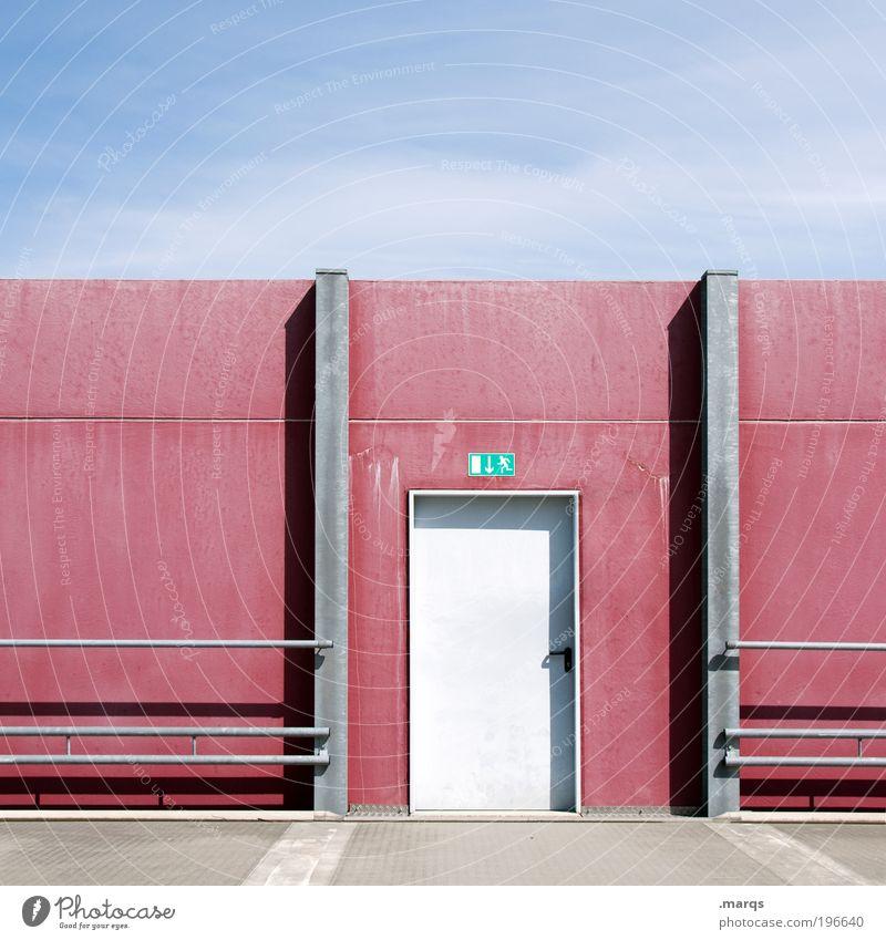 Exit Planet Dust Himmel Ferien & Urlaub & Reisen blau Sommer Erholung rot Wand Architektur Wege & Pfade Mauer Design Tür Ordnung Schilder & Markierungen Ausflug Zeichen
