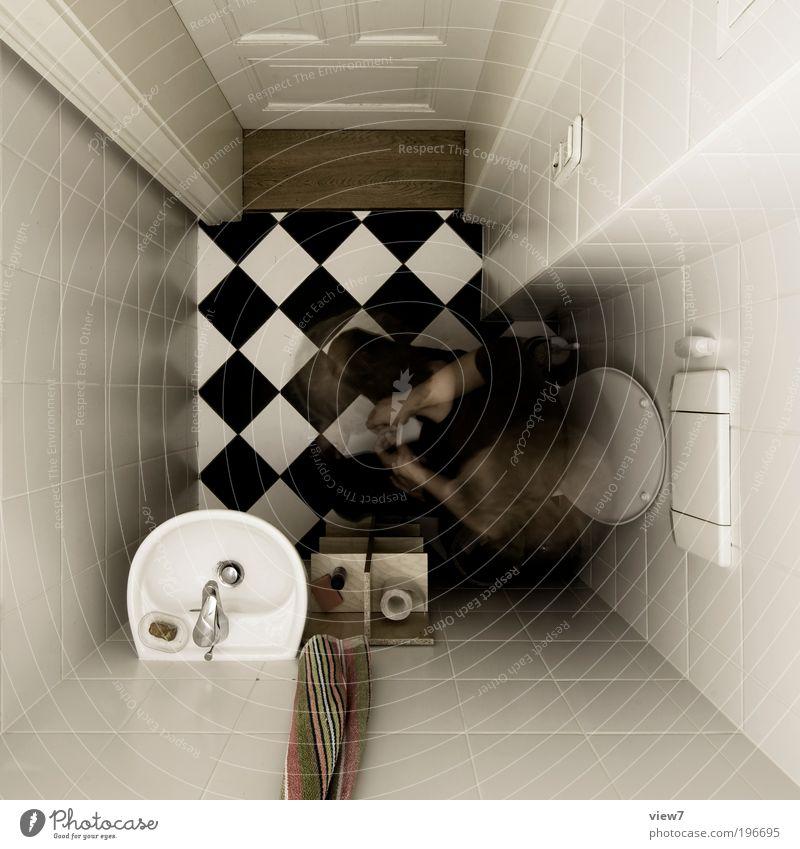 defäkieren Wohnung Umzug (Wohnungswechsel) einrichten Innenarchitektur Dekoration & Verzierung Raum Bad Mauer Wand Toilettenpapier Zeichen Linie Streifen