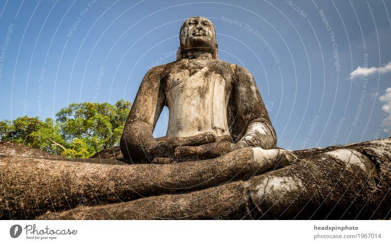 Buddha Statue aus Stein vor blauem Himmel Ferien & Urlaub & Reisen Erholung ruhig Ferne Religion & Glaube Kunst Stein Tourismus Zufriedenheit Ausflug Lebensfreude Abenteuer Ewigkeit Glaube Wellness Unendlichkeit
