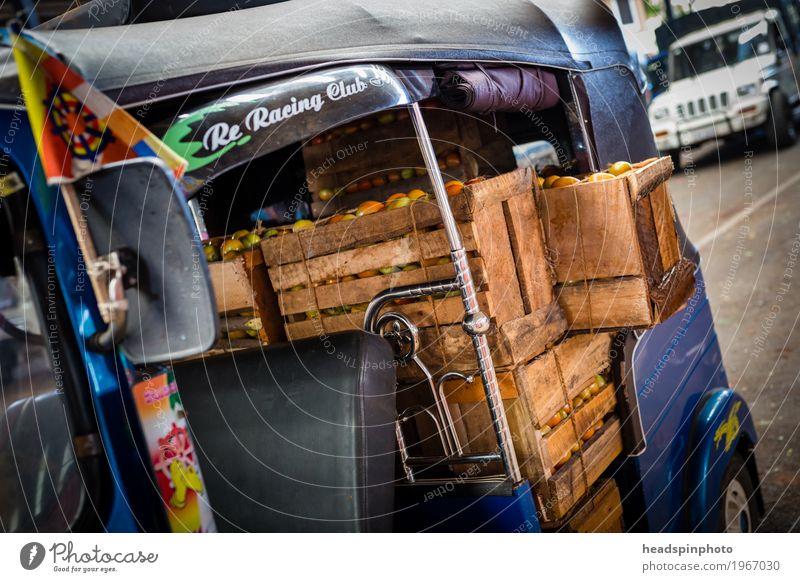 Holzkisten mit Tomaten in einem TukTuk Gemüse Nutzpflanze Kandy Sri Lanka Marktplatz Güterverkehr & Logistik Tuc-Tuc Essen fahren kaufen grün rot Business