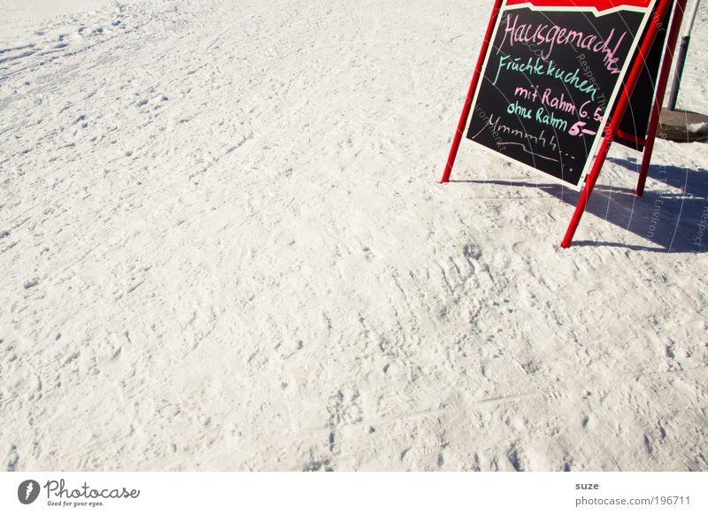 1x mit Rahm, bitte. Winter Ferien & Urlaub & Reisen Ernährung Schnee Schilder & Markierungen Ausflug Tourismus Pause stehen Schriftzeichen Zeichen Café lecker Appetit & Hunger Schönes Wetter Mahlzeit