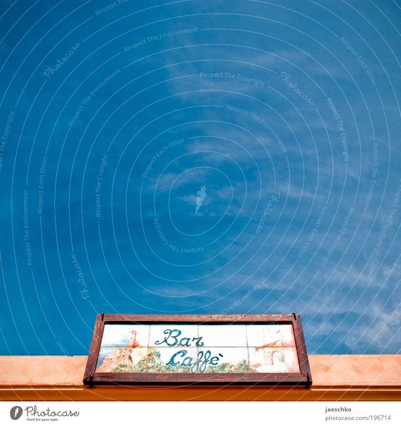 Käffchen? Ferien & Urlaub & Reisen blau Sommer Erholung Wärme Lifestyle Tourismus frisch Schilder & Markierungen Ernährung Lebensfreude einzigartig Italien Schönes Wetter Zeichen Freundlichkeit