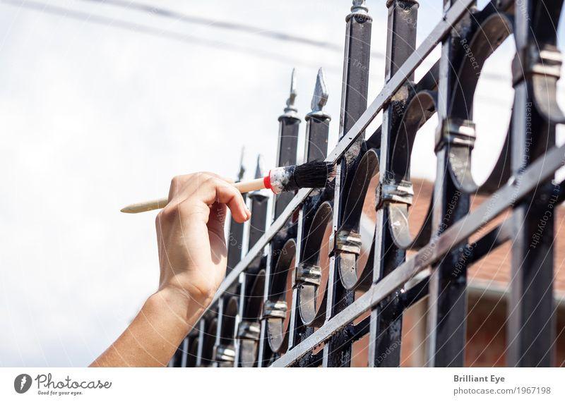 (un)erreichbar Mensch Hand klein Garten Arbeit & Erwerbstätigkeit maskulin hoch Spitze berühren streichen Zaun aufwärts anstrengen Anstreicher Optimismus