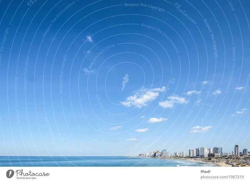 Tel Aviv Ferien & Urlaub & Reisen Ferne Städtereise Strand Meer Himmel Wolken Horizont Schönes Wetter Israel Stadt Hafenstadt Skyline Hochhaus blau Farbfoto