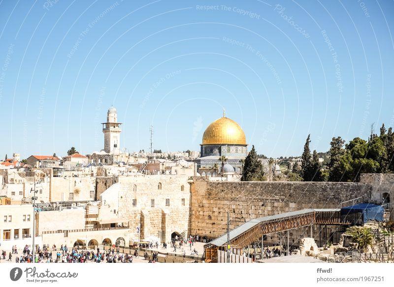 Jerusalem Mensch Ferien & Urlaub & Reisen alt Stadt Ferne Religion & Glaube Wand Gebäude Mauer Tourismus Ausflug Kirche Kultur historisch Turm