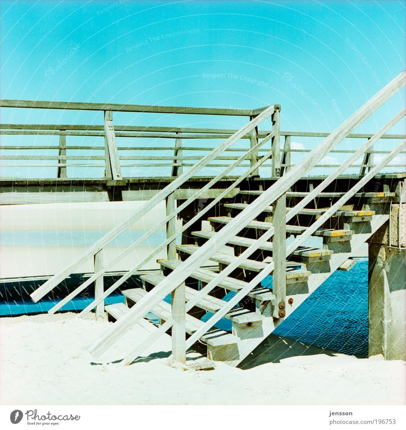 153118 Sonne Sommer Strand Holz Wärme Sand gehen Treppe Brücke Ende St. Peter-Ording