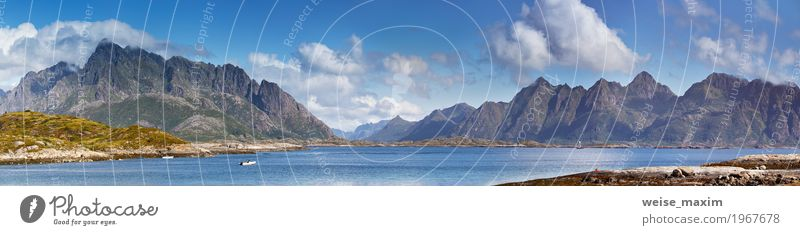 Sonniges Sommerpanorama Norwegen-Landschaft schön Ferien & Urlaub & Reisen Tourismus Ausflug Ferne Strand Meer Insel Berge u. Gebirge Natur Himmel Wolken