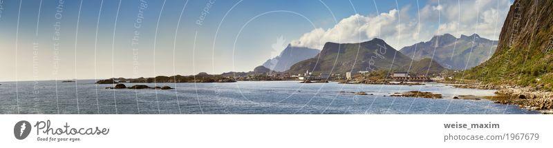 Sonniges Sommerpanorama Norwegen-Landschaft, Fjord, Berge Himmel Natur Ferien & Urlaub & Reisen blau schön Meer Wolken Haus Ferne Berge u. Gebirge Küste