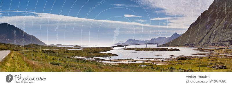 Fantastische Brücke durch Fjord auf Lofoten-Inseln in Norwegen Himmel Natur Ferien & Urlaub & Reisen blau Sommer Landschaft Meer Wolken Ferne Berge u. Gebirge