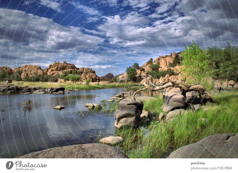 Watson See Erholung Ferien & Urlaub & Reisen Berge u. Gebirge wandern Natur Landschaft Himmel Wolken Unwetter Baum Park Felsen Vogel Stein blau braun Arizona